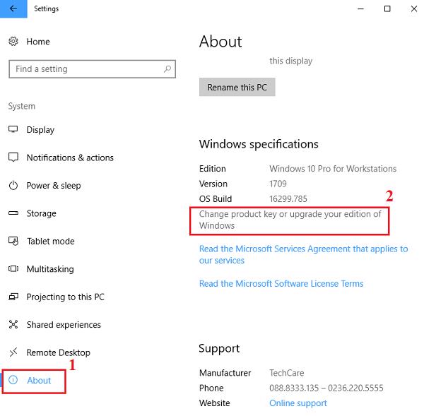 About -> Change product key or upgrde your edition of Windows