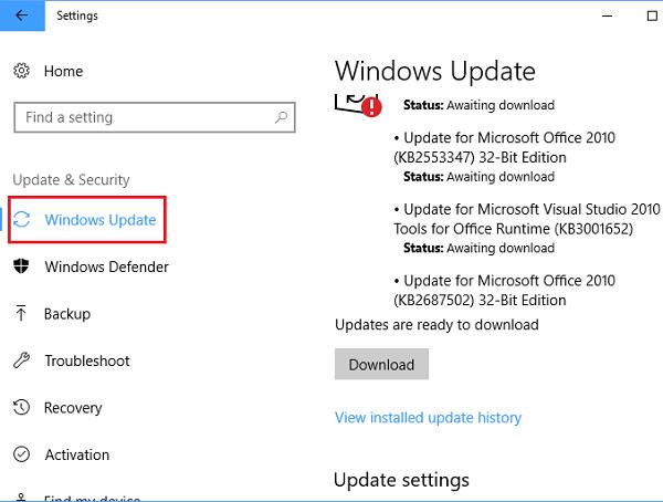 Update & Security -> Windows Update -> Check for updates