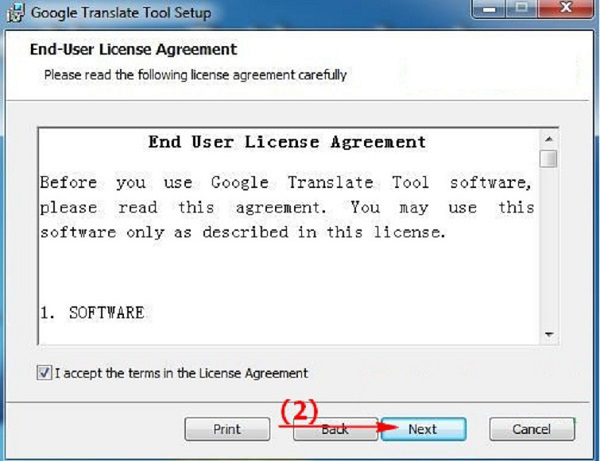 I accept the terms in the license Agreement -> Next