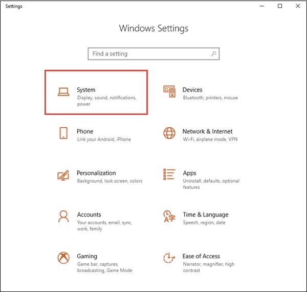 Settings -> System -> About